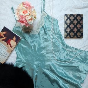 Vintage Amelia's Green Satin Nightie Lingerie